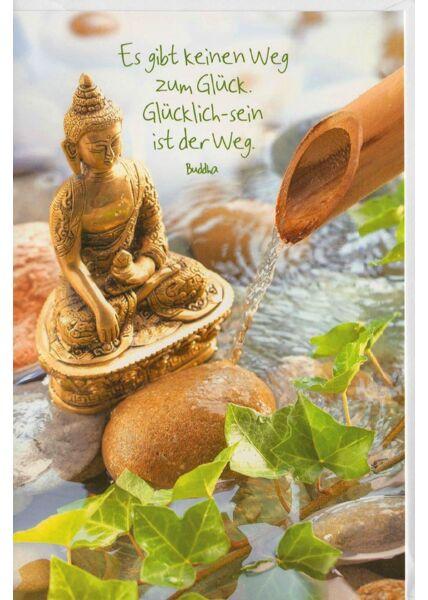Grußkarte Yoga Spruch Buddha Glück