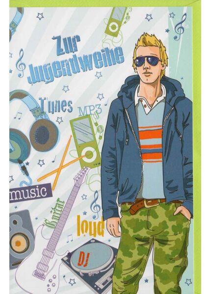 Jugendweihe Glückwunschkarte für Jungen modern