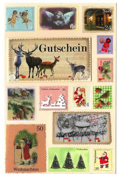 Karte Weihnachten Gutschein Briefmarken