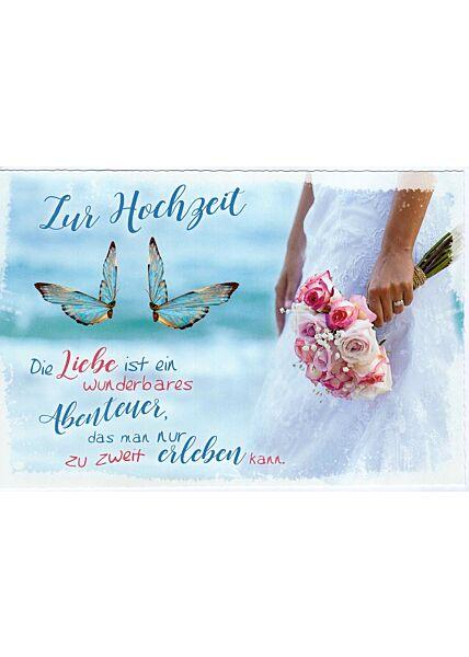 Glückwunschkarte Hochzeit Liebe ist ein Abenteuer