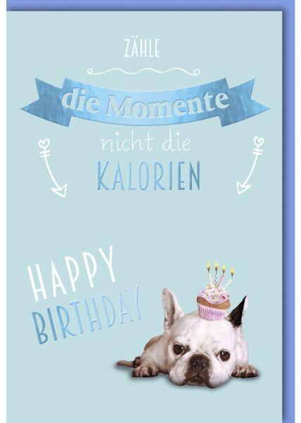 Geburtstagskarte lustig Mops mit Cupcake