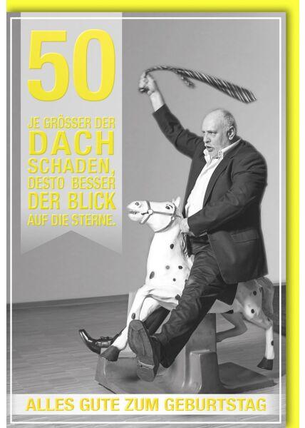 50.Geburtstagskarte lustig- Mann auf Schaukelpferd