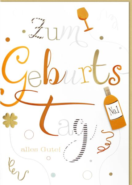 Geburtstagskarte - A4, Maxi, XXL Kleeblatt, Flasche, Glas