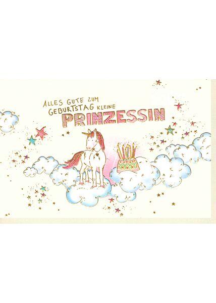 Karte Geburtstag Mädchen Kind Einhorn Prinzessin