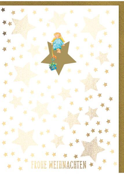 Weihnachtskarte: Frohe Weihnachten - Engel mit Geschenken