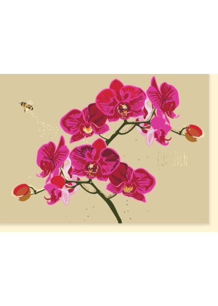 Grußarte Frau: Orchidee pink - Für Dich
