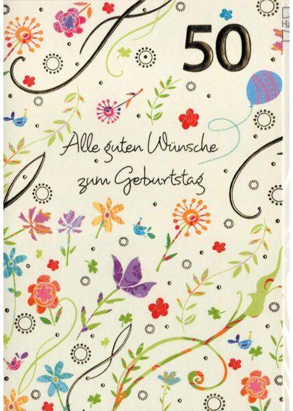 Geburtstagskarte 50. Geburtstag: bunte Blumen auf weiß