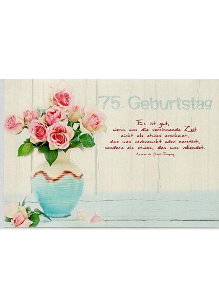Geburtstagskarte 75 Spruch über Zeit