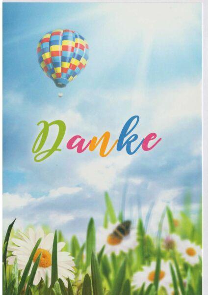 Grußkarte Danke Luftballon Blumenwiese