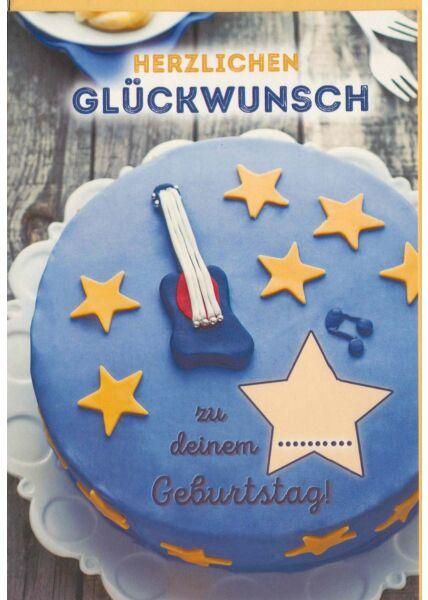 Geburtstagskarte mit Gitarre blau
