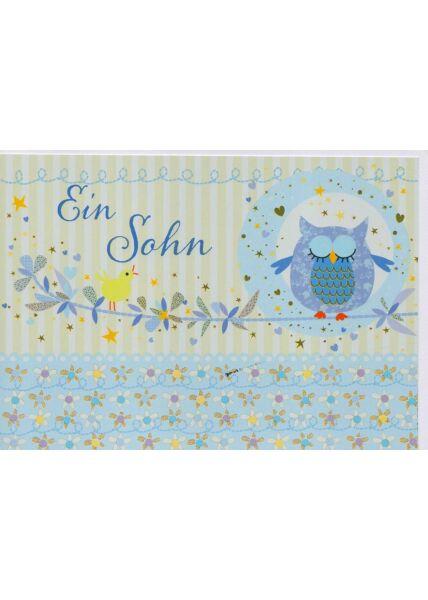 Babykarte Junge ein Sohn blau