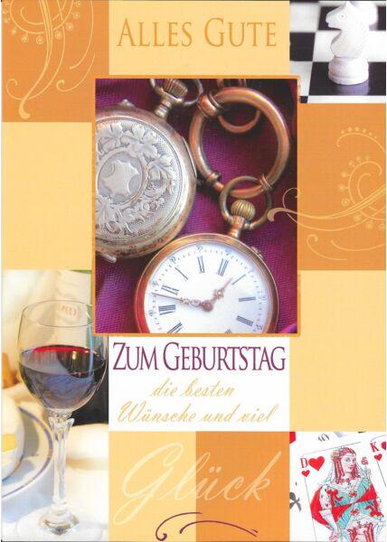 XXL Maxi Geburtstagskarte Wein Uhr