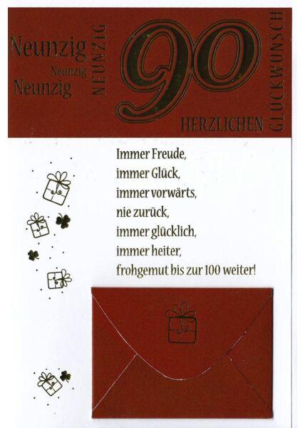 Geburtstag 90 Karte mit Kuvert für Geld
