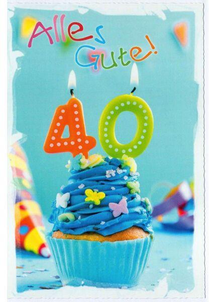 Geburtstagskarte 40 Kerzen Alles Gute
