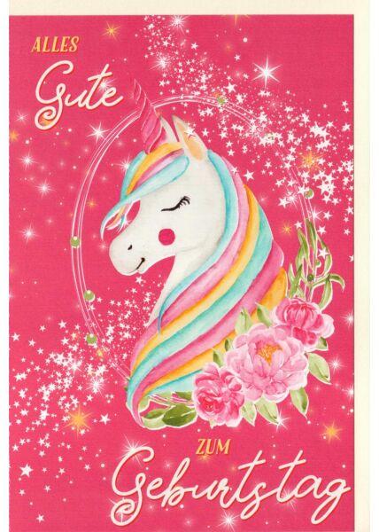 Kindergeburtstagskarte Einhorn, Blumen