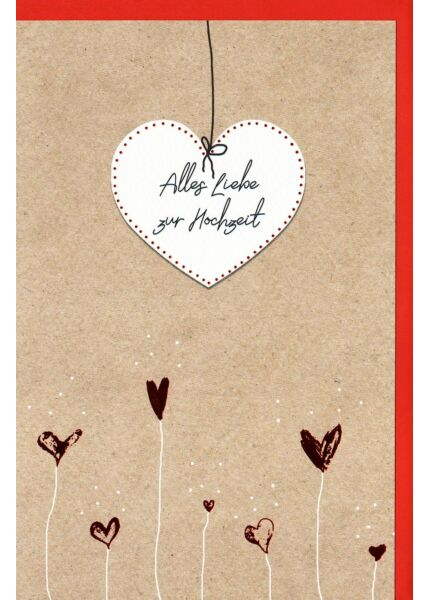 Hochzeitskarte Alles Liebe zur Hochzeit, Naturkarton, mit roter Metallicfolie