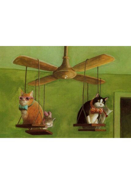 Postkarte lustig Katzen Deckenventilator