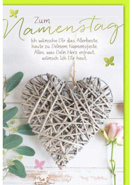 Namenstagskarte - Herz aus Holzstreifen