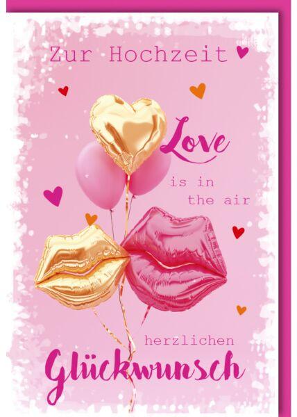 Hochzeitskarte Spruch Luftballon-Lippen