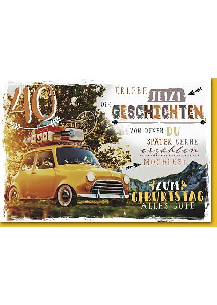 40.Geburtstagskarte, Oldtimer mit Dachgepäck