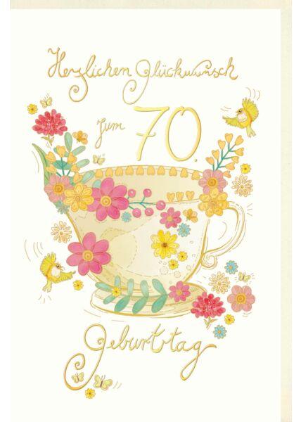 Geburtstagskarte 70 Jahre Skorpion´s art Tasse mit Blumen, Vögel