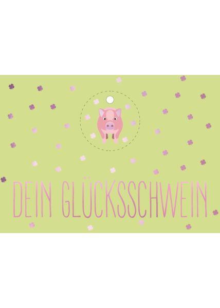 Postkarte Freundschaft Dein Glücksschwein