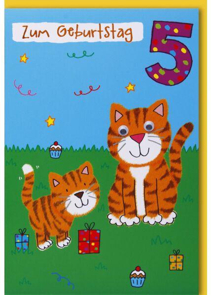 Geburtstagskarten für Kinder 5. Geburtstag Zwei Katzen mit Geschenken