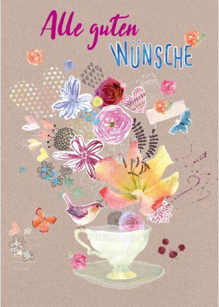 Postkarte Spruch Illustration Tasse Alle Guten Wünsche