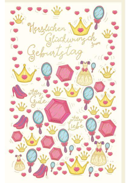 Geburtstagskarte für Kinder Herzen, Kronen, Handspiegel, Kleider, Schuhe