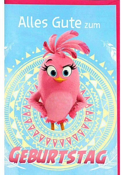 Geburtstagskarten für Kinder Angry Birds, Vogel rosa