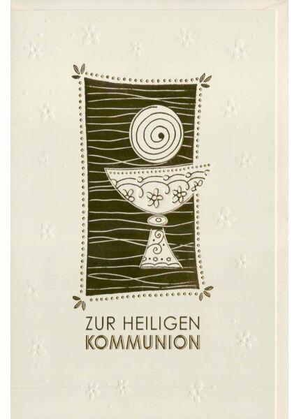 Kommunionskarte edles Papier und veredelt