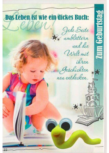 Glückwunschkarte Kindergeburtstag Leben ist ein dickes Buch
