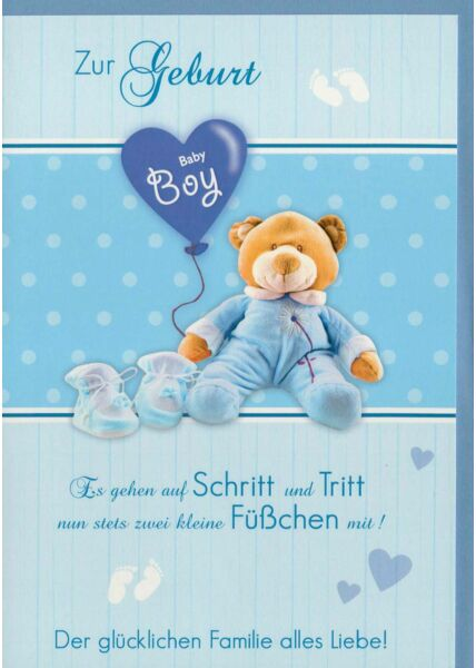 Glückwunschkarte Baby Junge Boy blau