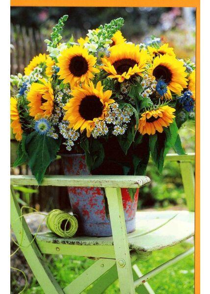 Grußkarte Eimer Sonnenblumen Gartenstuhl ohne Text