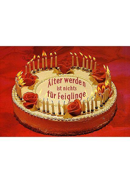 Postkarte Kuchen älter werden ist nichts für Feiglinge