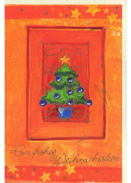 Premium Weihnachtskarte orange Weihnachtsbaum Folienprägung