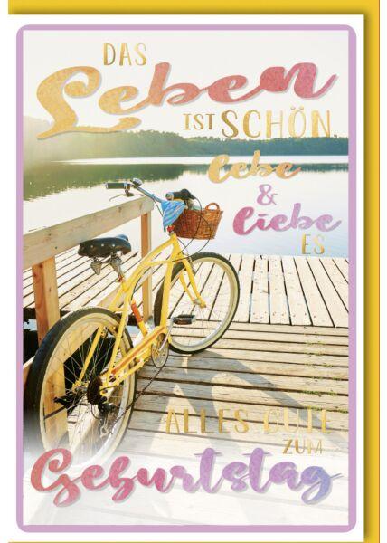 Geburtstagskarte Spruch Fahrrad am Steg