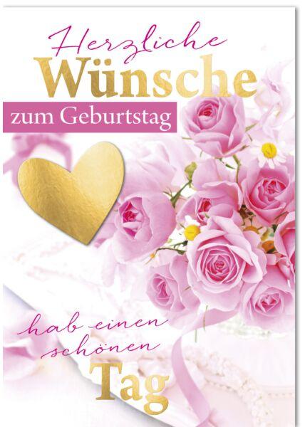 Geburtstagskarte - A4, Maxi, XXL rosa Rosen mit Gänseblümchen