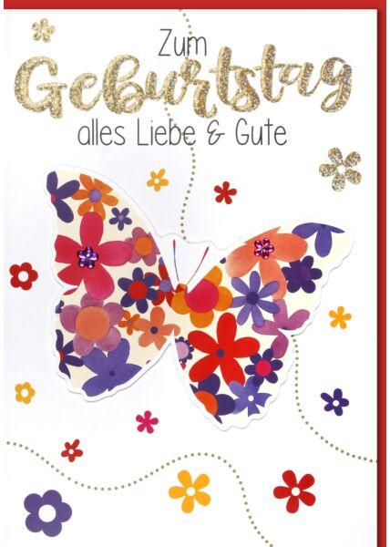 Geburtstagskarte - Maxi, XXL Blumenschmetterling A4