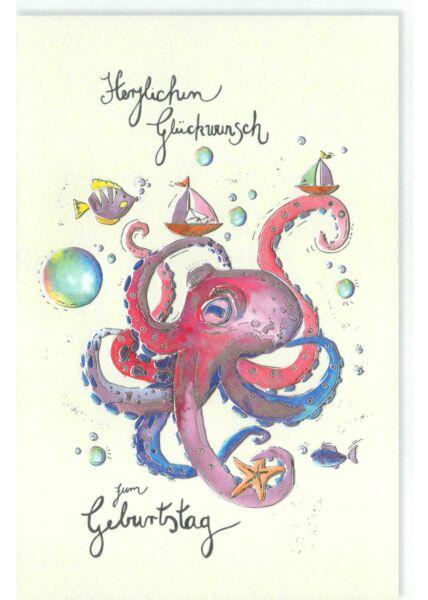 Glückwunschkarte Geburtstag Krake, Seestern, Fische, mit Silberfolie und Blindprägung