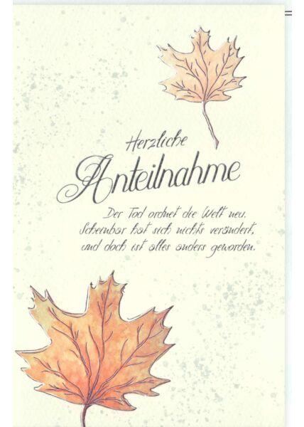 Trauerkarte Blätter, Naturkarton, mit Silberfolie und Blindprägung Herzliche Anteilnahme