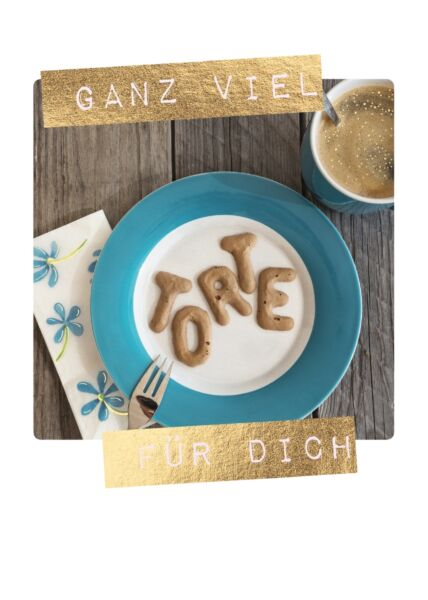 Postkarte Spruch Geburtstag Ganz viel Torte für Dich