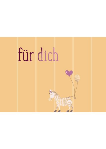 Postkarte Spruch Zebra - Für Dich