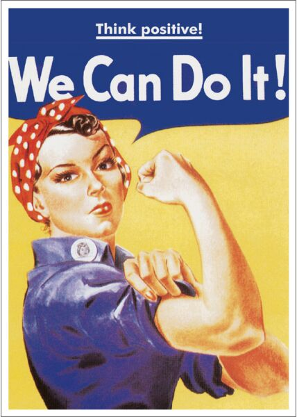 Postkarte Spruch witzig Think positive! We Can Do It!