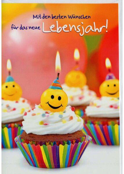 Geburtstagskarte: Cupcakes mit lachenden Smileys