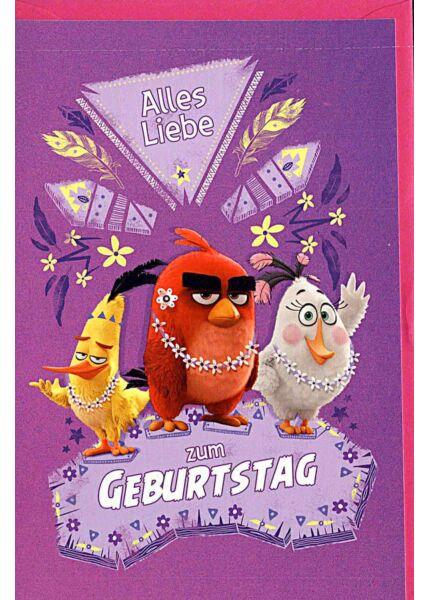 """Geburtstagskarten für Kinder Angry Birds """"alles Liebe"""""""