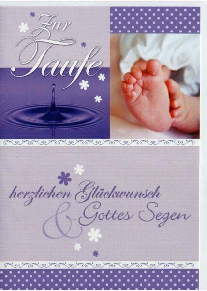 Glückwunschkarte zur Taufe lila Gottes Segen