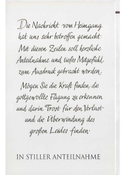 Trauerkarte mit Text in Wir-Form