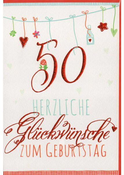 Glückwunschkarte 50 Geburtstag liebevolle Illustration