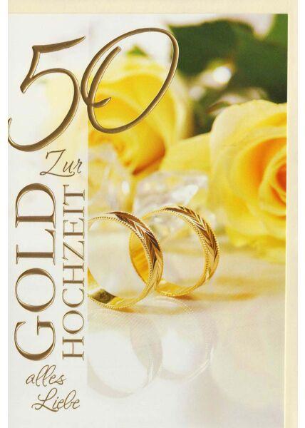 Glückwunschkarte goldene Hochzeit 2 Ringe stehend